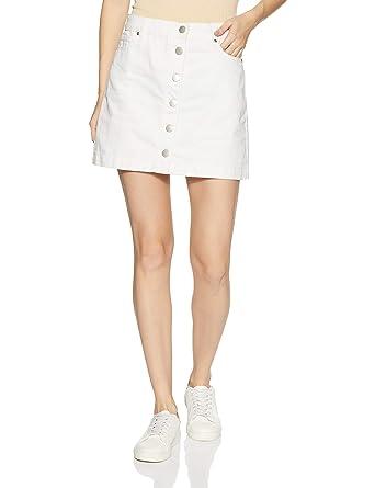 45b95c906926 Forever 21 Women's Contemporary Denim Mini Skirt 250775, M, White:  Amazon.in: Clothing & Accessories