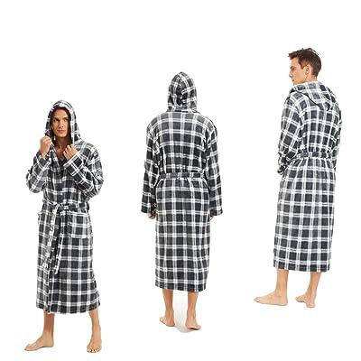 iniber Men Robes Soft Lightweight Robes Full Length Robe,Plus Size M-4XL Warm Bathrobe