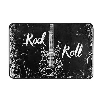 COOSUN Guitarra eléctrica y Las Letras Rollo de la Roca en el Fondo de Grunge Felpudo