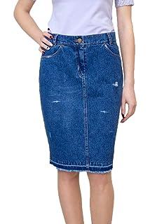 1890b685ff Souvenir-Fashion New Ladies Casual Boutique Knee Length Pencil Blue Denim  Skirt UK 8 10