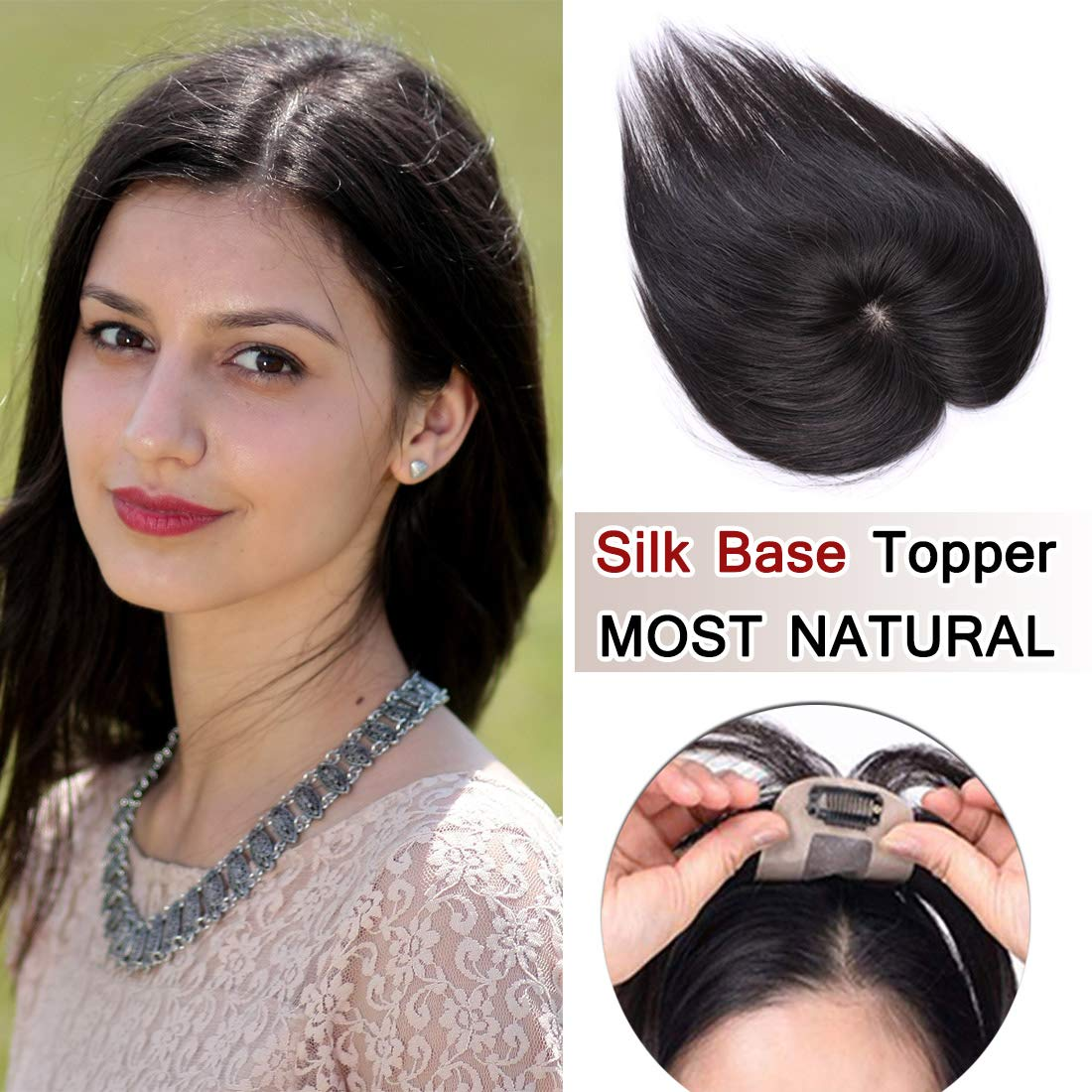 SEGO 100% Density Top Hair Pieces Silk Base Crown Topper Human Hair Clip in Hair Toppers Top Hairpieces for Women with Thinning Hair Gray Hair/Hair Loss #1B Natural Black 18 Inch 35g