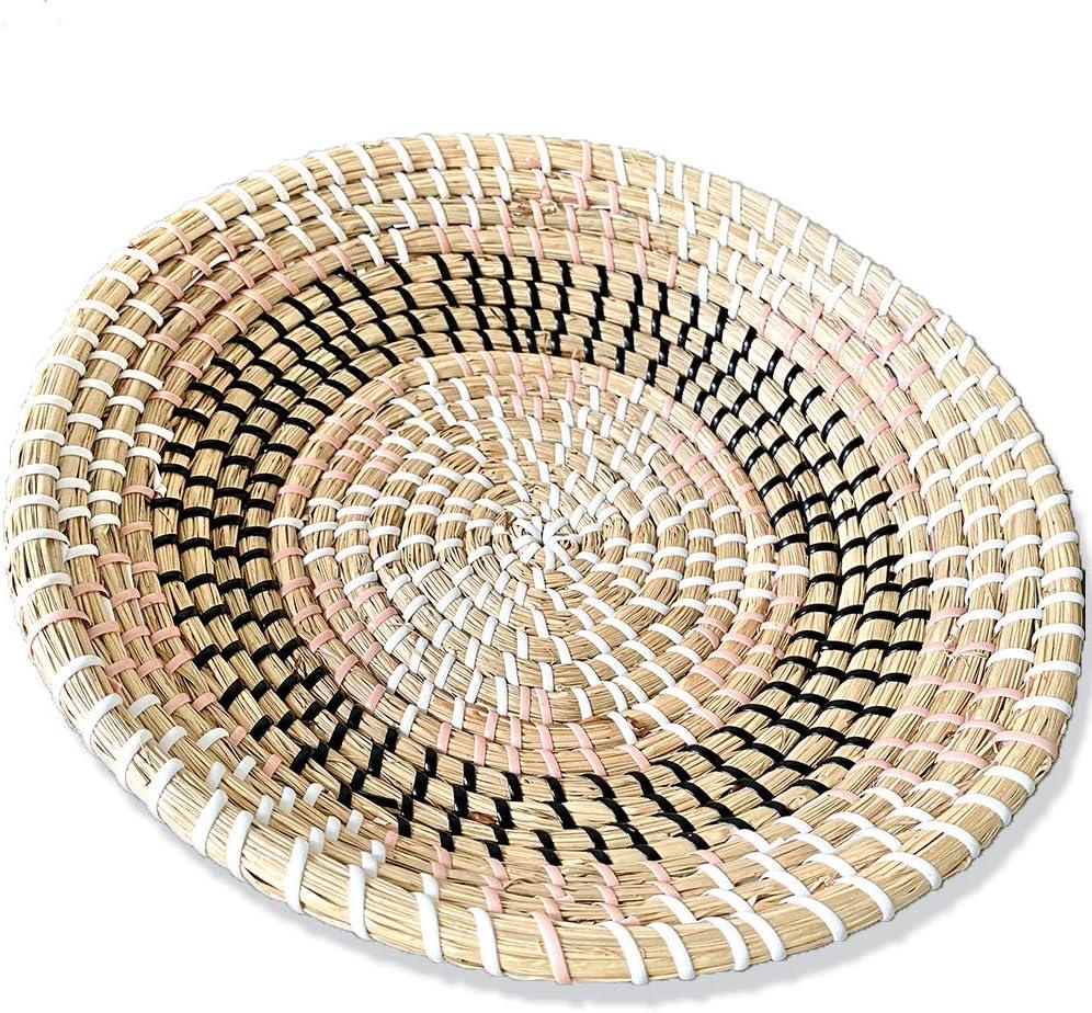 "Ronala Home Woven Wall Basket | Natural Boho Home Decor | Woven Basket Wall Decor | Decorative Seagrass Basket | Basket Wall Decor | Seagrass Bowl | Hanging Woven Wall Basket (D 11.81"", Pink Star)"