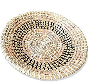 "Ronala Home Woven Wall Basket | Natural Boho Home Decor | Woven Basket Wall Decor | Decorative Seagrass Basket | Basket Wall Decor | Seagrass Bowl | Hanging Woven Wall Basket (D 11.81"", Pink Star)"