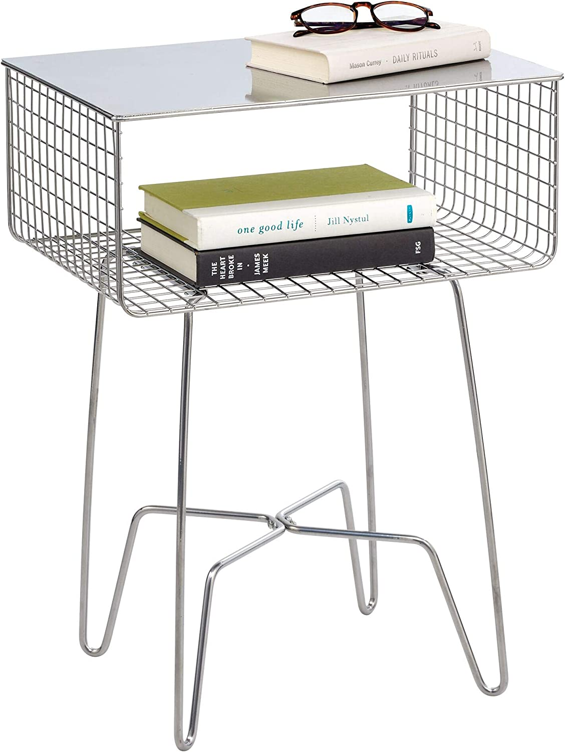 mDesign Modern Farmhouse Side/End Table - Metal Design - Open Storage Shelf Basket, Hairpin Legs - Sturdy Vintage, Rustic, Industrial Home Decor Accent Furniture for Living Room, Bedroom - Chrome