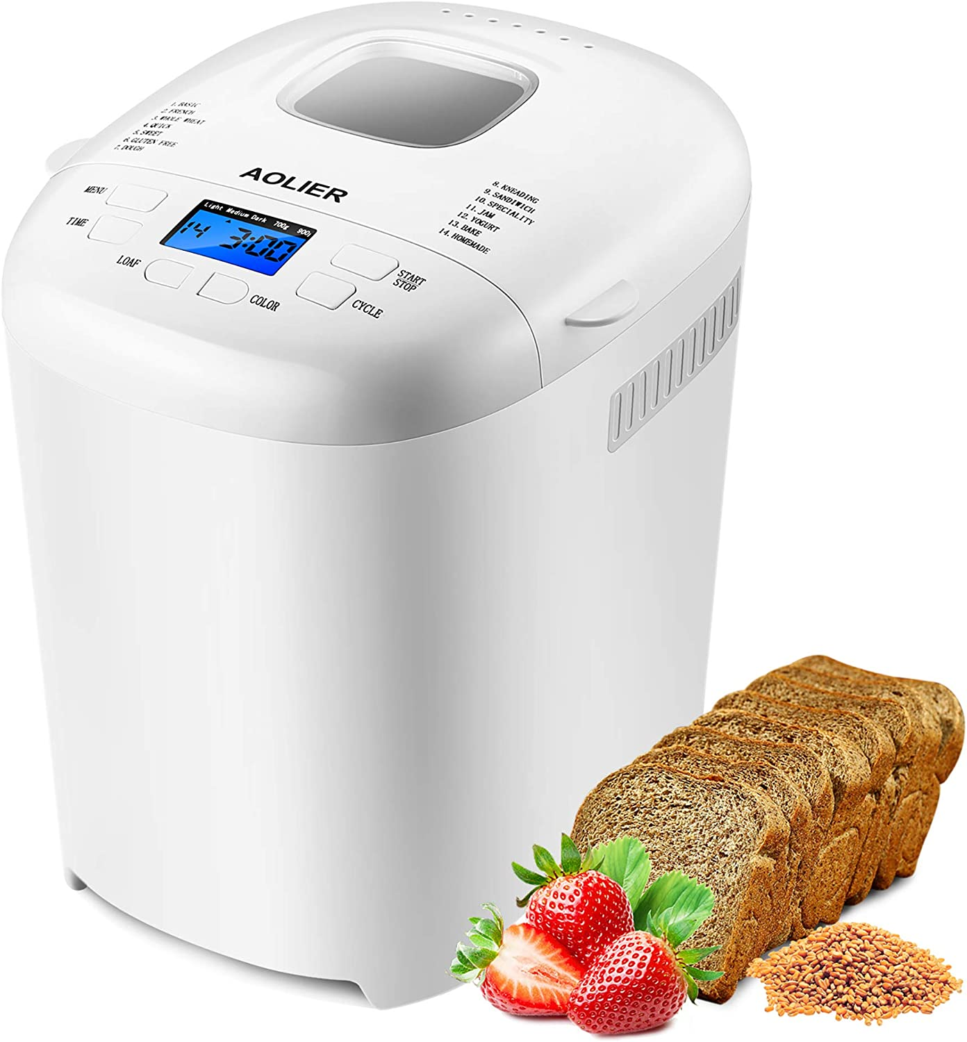 AOLIER Bread Machine, 2LB 14-in-1 Bread Maker Machine Incl Gluten Free, Homemade Setting | Non Stick Pan | 2 Loaf Sizes & 3 Crust Colors | Reserve & Keep Warm Set | Recipe Booklet Included (White)