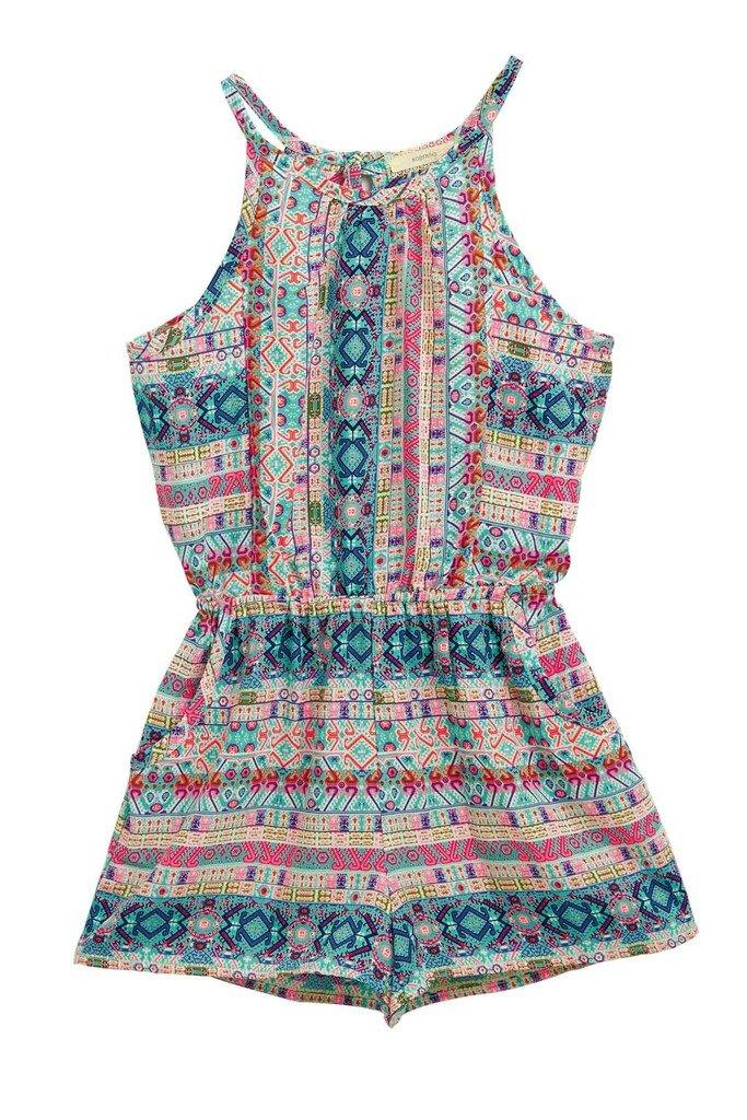 Big Girls Kids Floral Pockets Border Prints Halter Sleeveless Comfy Romper NPK L