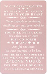 Inspirational Gift for Granddaughter from Grandma and Grandpa,Engraved Wallet Cards from Grandparents- You Will Never Lose