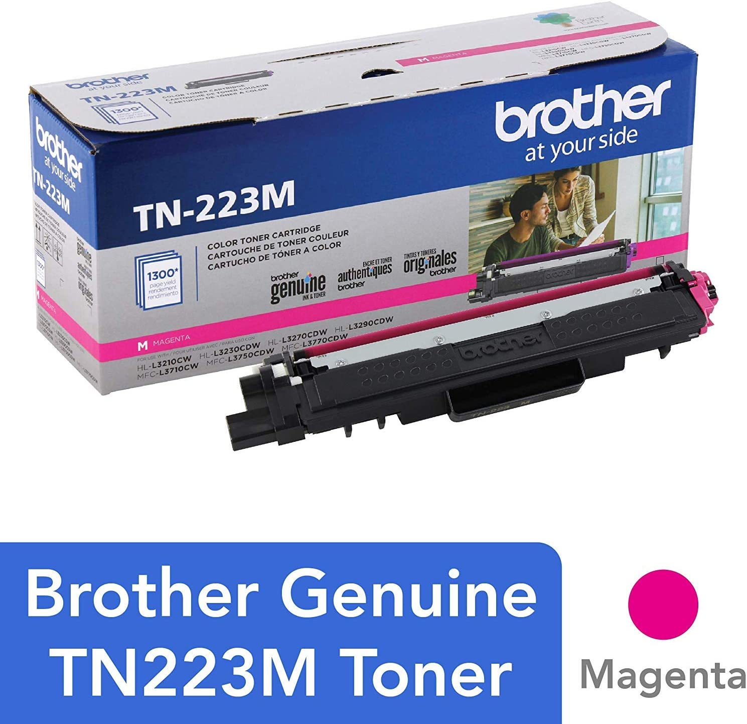 Brother Genuine TN223M, Standard Yield Toner Cartridge,Replacement Magenta Toner, Page Yield Up to 1,300 Pages, TN223, Amazon Dash Replenishment Cartridge