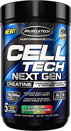 Muscletech Muscletech Performance Series Cell Tech Next Gen Gummy Worm, 1.84 Pound, XL-Man, White and Purple