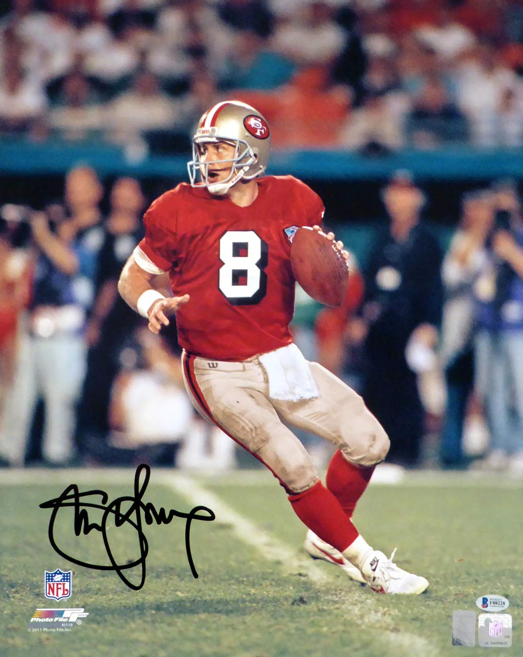 Steve Young Autographed 16x20 Photo San Francisco 49ers Beckett BAS Stock #147612