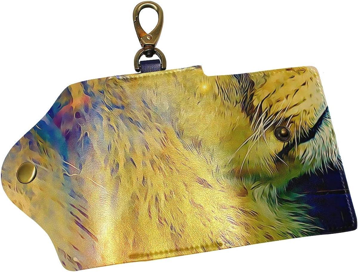 KEAKIA Lion Leather Key Case Wallets Tri-fold Key Holder Keychains with 6 Hooks 2 Slot Snap Closure for Men Women