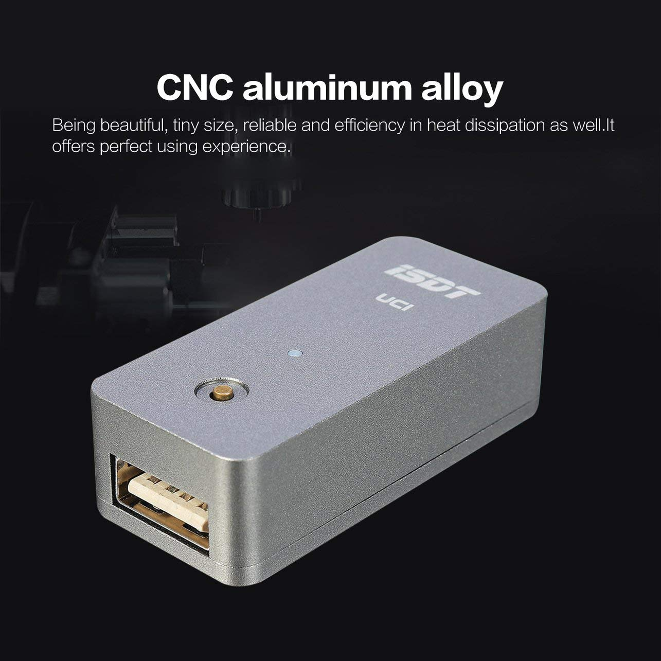 WOSOSYEYO CNC-Aluminiumlegierung Tiny ISDT UC1 18W 2A Mini Schnelllade Smart-USB-Ladeger/ät Unterst/ützung 2.0 FCP 3.0 BC1.2 XT60-Eingang Silber