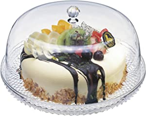 Amazing Abby - Kate - 12-Inch Acrylic Cake Plate with Dome Cover, Perfect for Display, Party, Entertaining