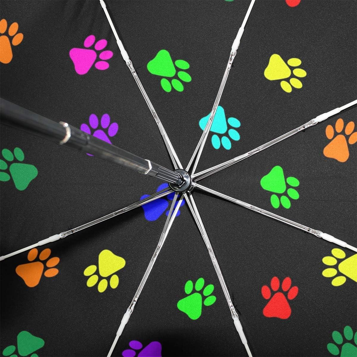Black Glue Anti UV Coating ANINILY Colorful Footprints On Black Folding Umbrella Windproof Compact Travel Umbrella For Women Men