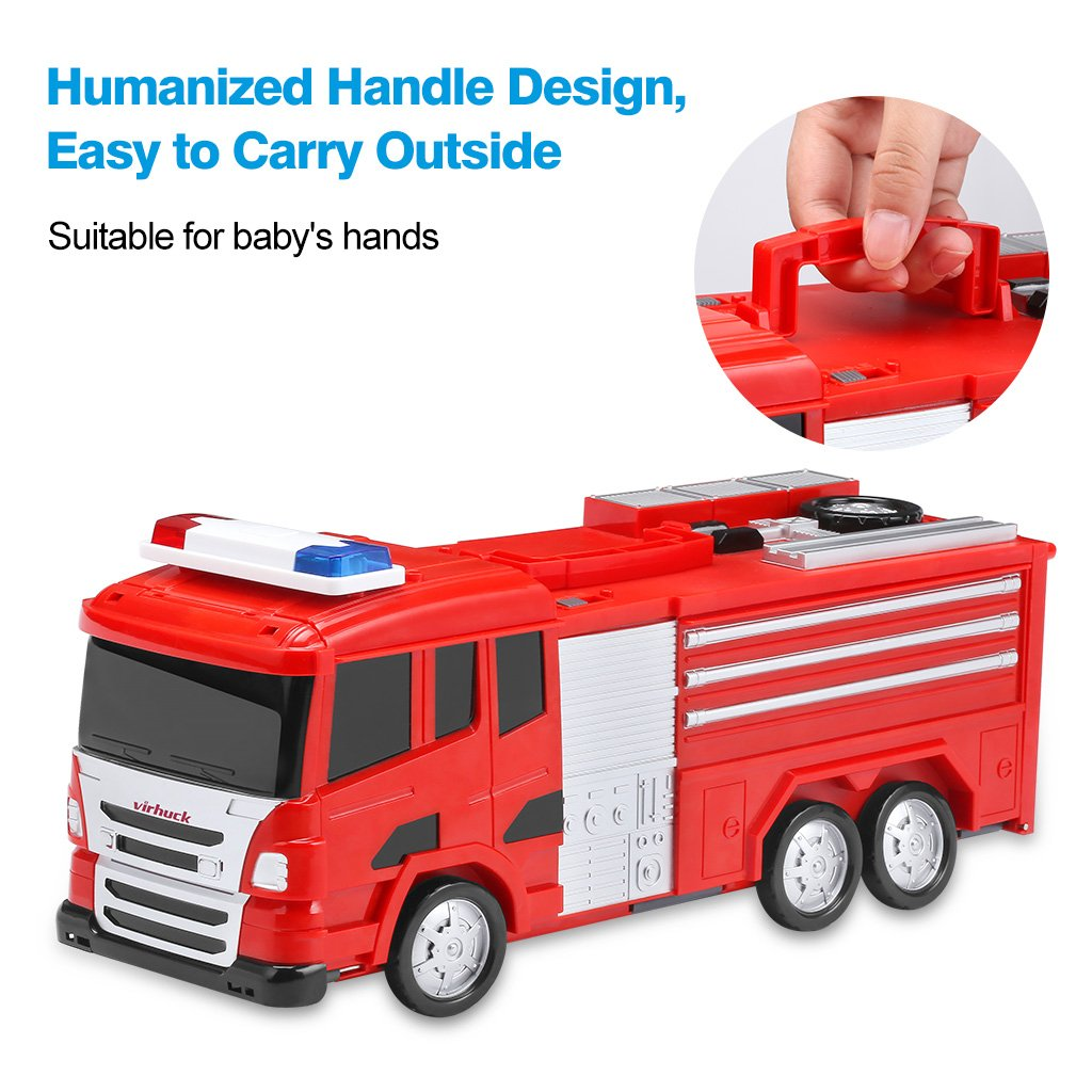 Ejection Track Cars Toys Fire Engine Unfold to Be A DIY Car Vehicle City Including Die-Cast Cars Virhuck Tracks Car Multi-Functional Transform Truck with Sound and Light Effect Tracks Building