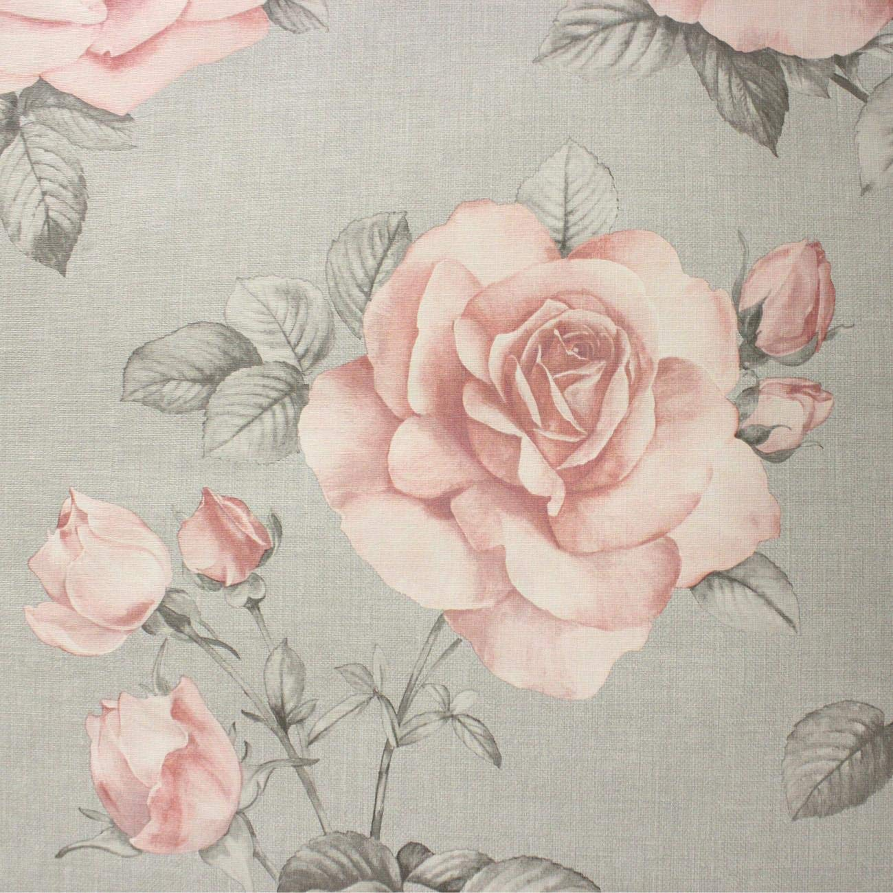 Floral Flower Roses Wallpaper Pink Grey Hessian Linen Effect