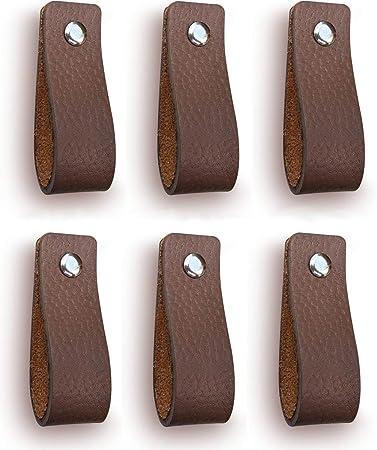 Ledergriff f/ür Schr/änke 6 St/ück Grau die K/üche und T/ür Ledergriffe M/öbel Lieferung mit Schrauben in 3 Farben