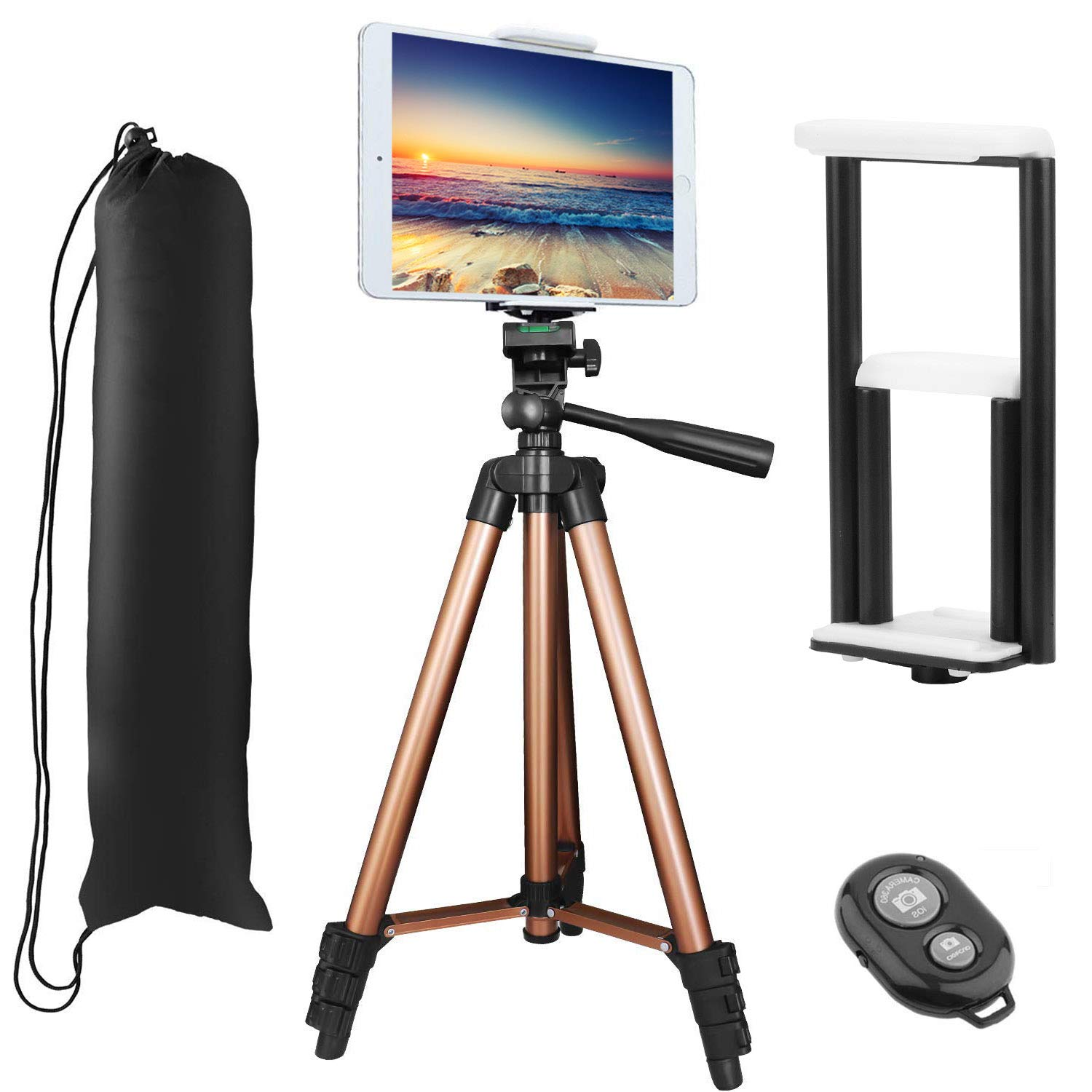 PEYOU Compatible for iPad iPhone Tripod, 50 inch Lightweight Aluminum Phone Camera Tablet Tripod + Wireless Remote + 2 in 1 Mount Holder Compatible for Smartphone (Width 2-3.3'), Tablet (Width 4.3-7.2') Tablet (Width 4.3-7.2)
