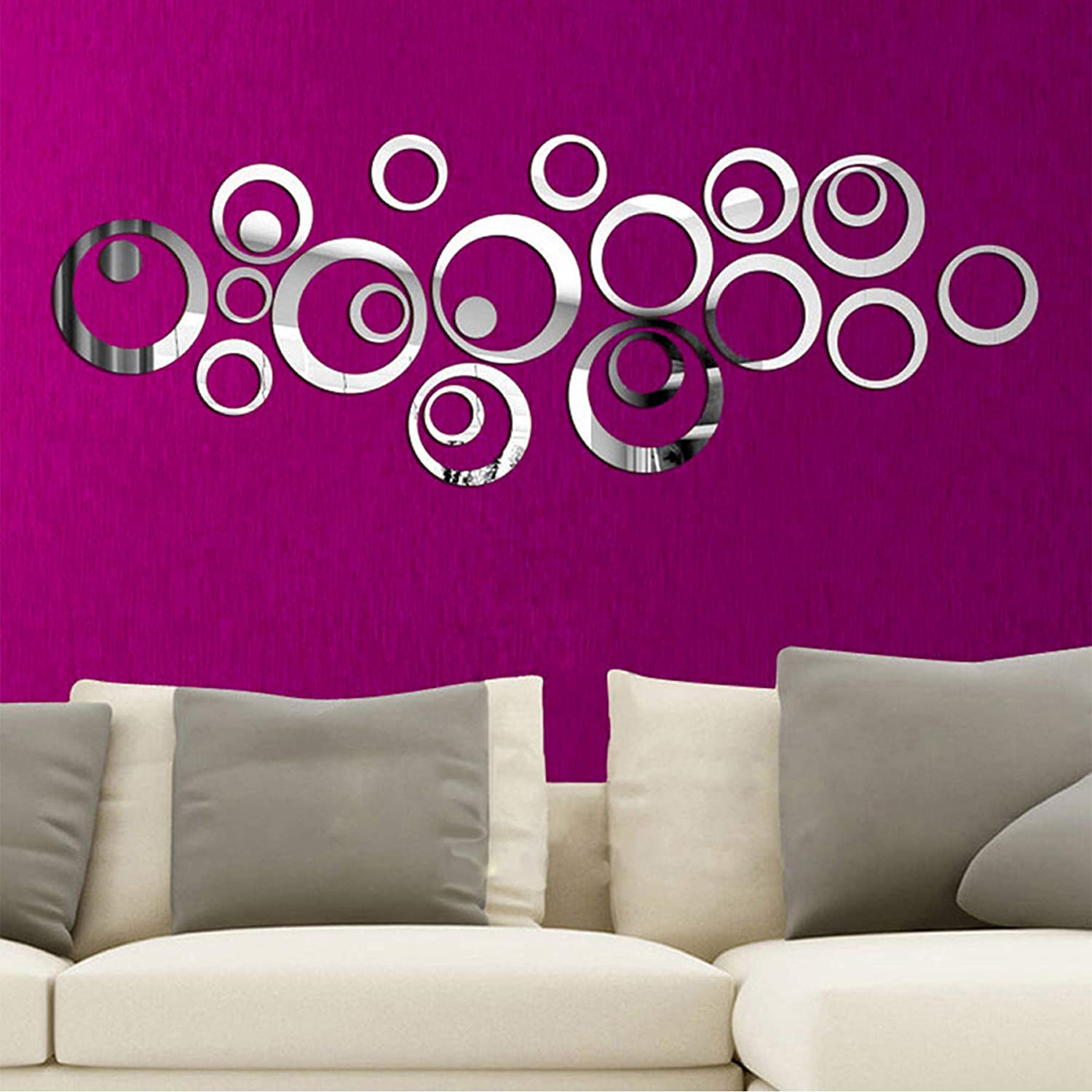 Amazon Com Mirror Wall Stickers Aesthetic Wall Art Decals Decor For Bedroom Bathroom Living Room 3d Acrylic Room Murals Decorations For Women 24 Pieces S1 Kitchen Dining