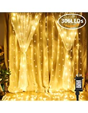 LE 306 LED Curtain Lights, 3m x 3m Plug in Warm White Decorative Window Lights, 8 Modes Water Resistant Fairy Lights for Outdoor, Indoor, Party and More