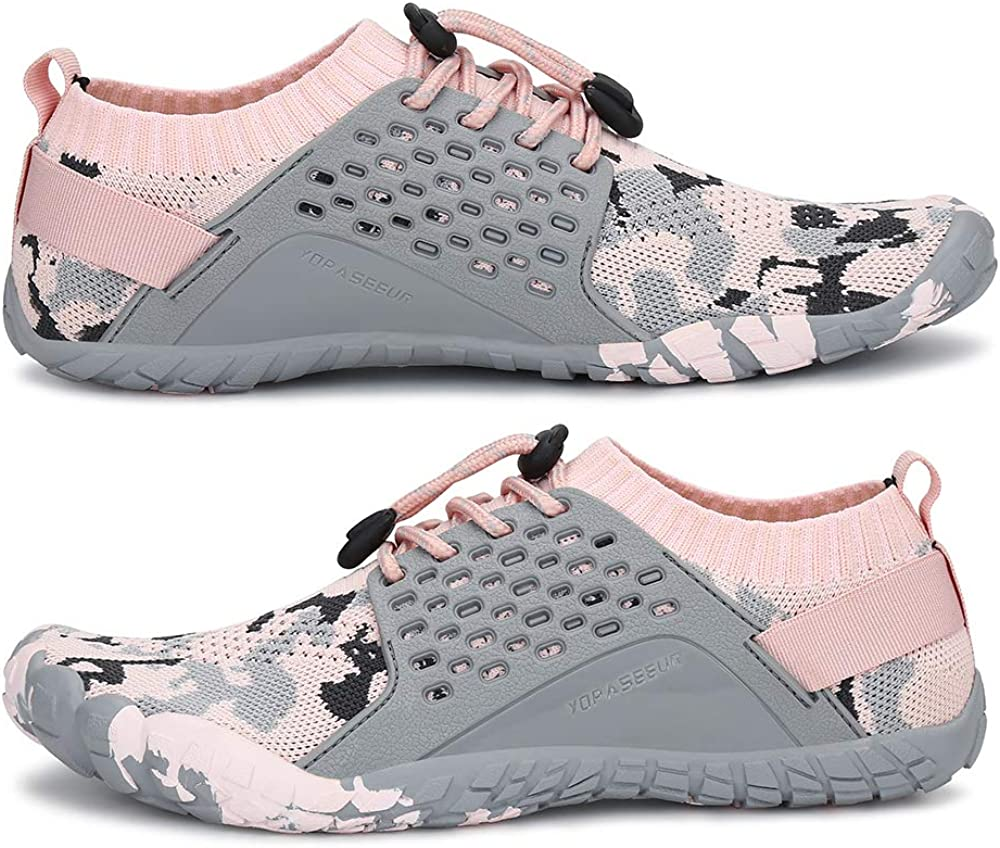 Yopaseeur Womens Minimalist Trail Running Barefoot Shoes Wide Toe Box GMY Workout Shoes