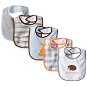 Luvable Friends 5 Piece Character Bib with Waterproof Backing, Blue Fox