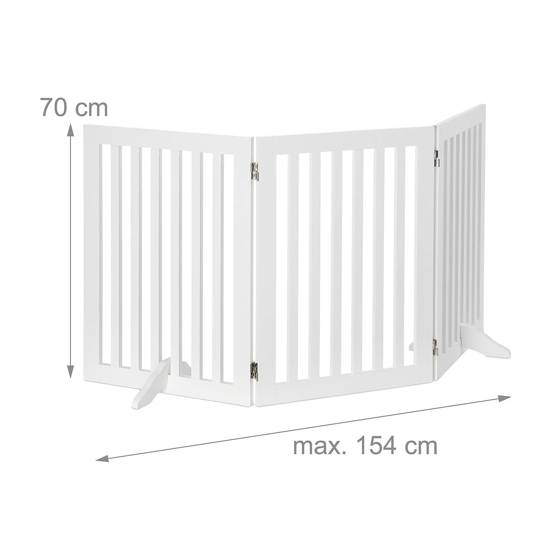 Bianco Griglia di Sicurezza per Cani 1 Pannelli Divisorio per Bambini Camino /& Stufa 70x154 cm Regolabile Relaxdays MDF