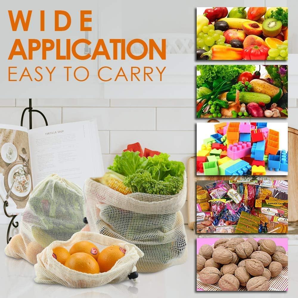 Bolsas de Malla Reutilizables Bolsas de Comida para Fruta 10pcs Ecol/ógicas Bolsa de Malla,Bolsa Reutilizable Algodon de Vegetales para Almacenamiento Fruta Verduras Juguetes Lavable y Transpirable