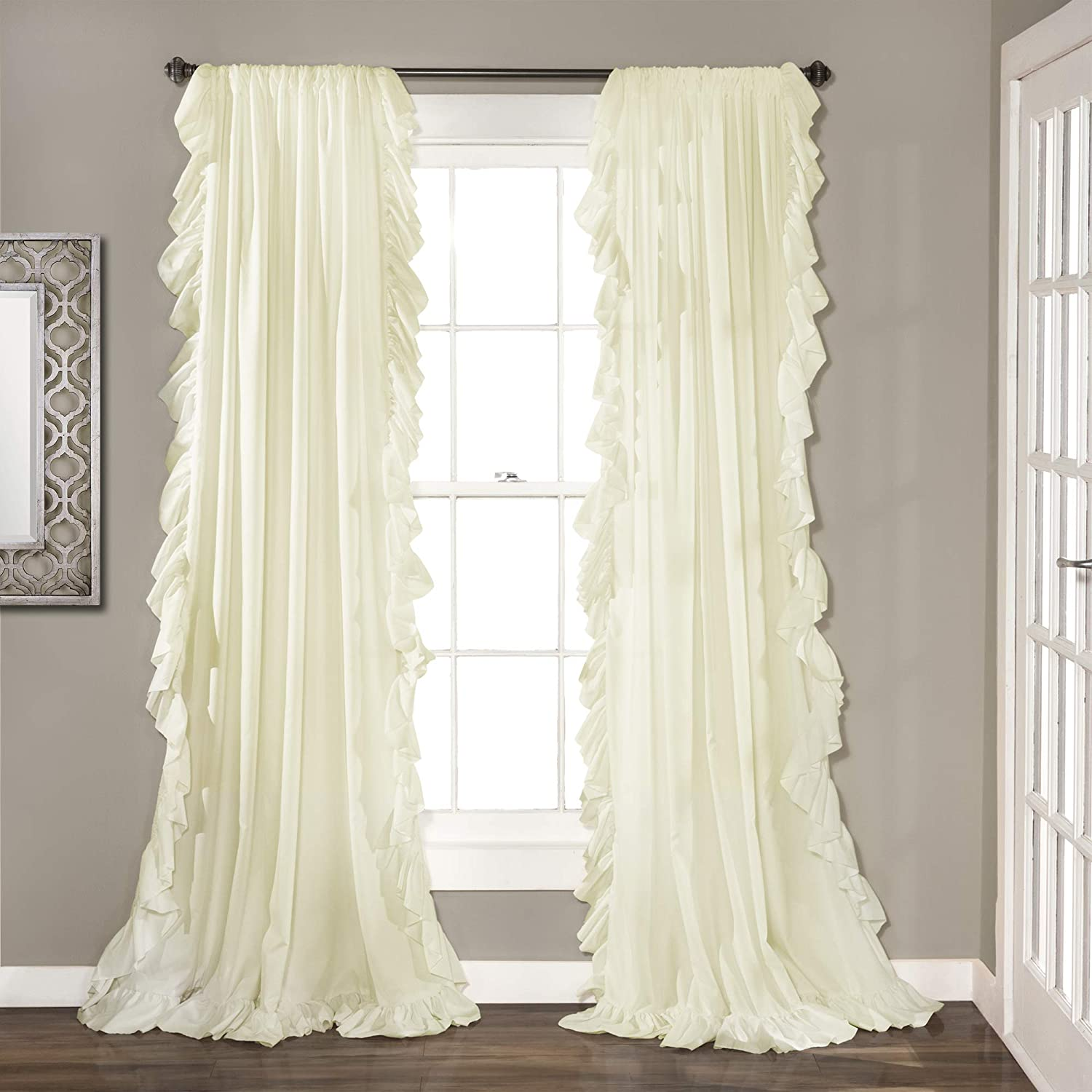 "Lush Decor Reyna Ivory Window Panel Curtain Set for Living, Dining Room, Bedroom (Pair), 84"" x 54"","