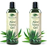 Green Leaf Naturals Organic Aloe Vera Gel, Pure Thin-Gel Formula for Skin, Face and Hair, 16 ounce 2-Pack (two 8 oz bottles)