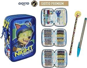 Plumier Estuche Cremallera Triple 3 Pisos Patrulla Canina Chase Visión Nocturna 43 Piezas Contenido Giotto + Regalo: Amazon.es: Juguetes y juegos