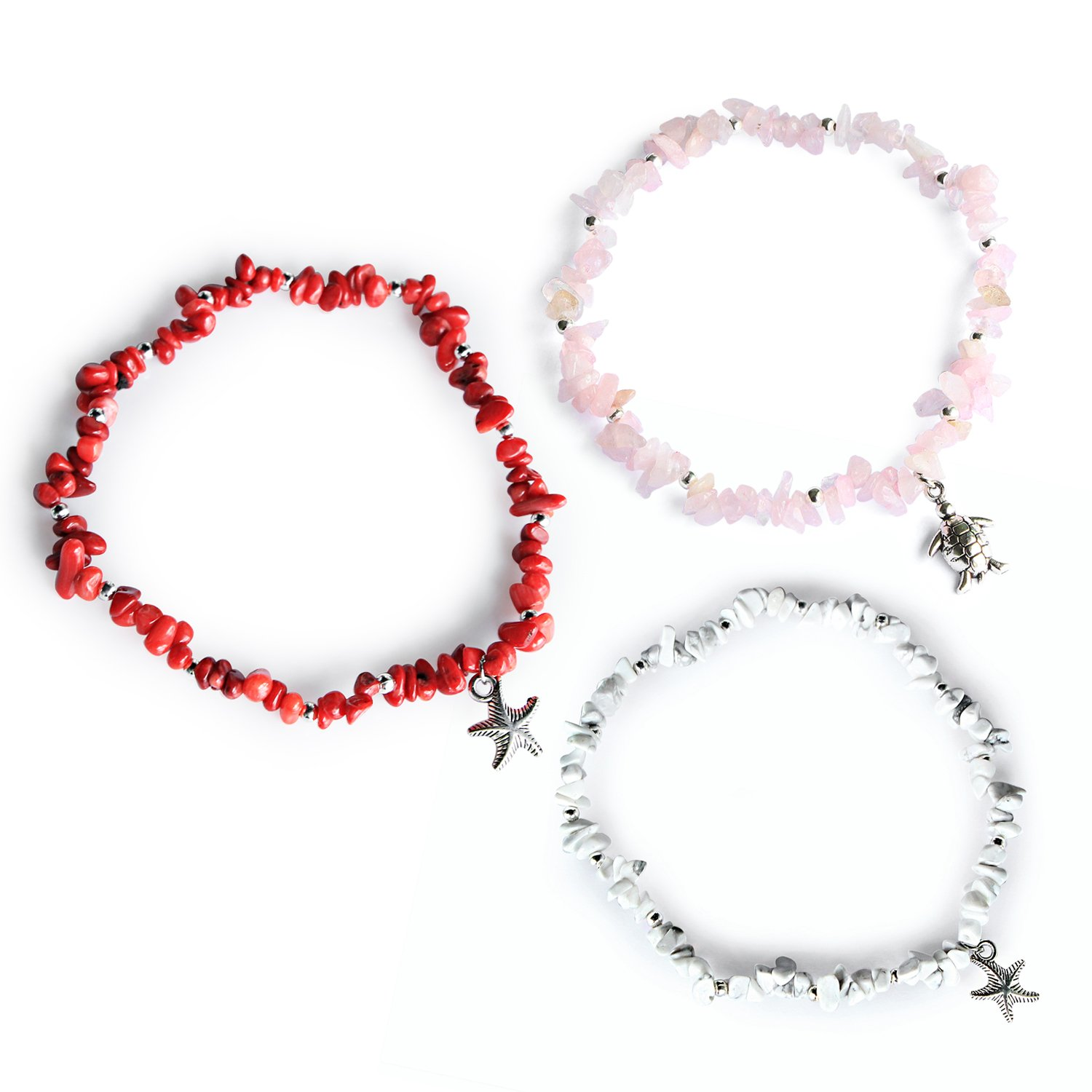 Me&Hz Starfish Turtle Anklets Set Natural Stone Beaded Ankle Bracelets Summer White Stretch Beach Jewelry for Women Girls