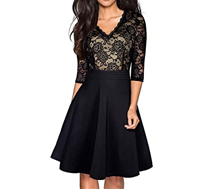 Vintage Black Flower Elegant Lace Ruffle Vestidos See Through Sleeve A-Line Pinup Business Women