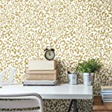"RoomMates Leopard Peel and Stick Wallpaper, Gold, 20.5"" x 16.5 feet"