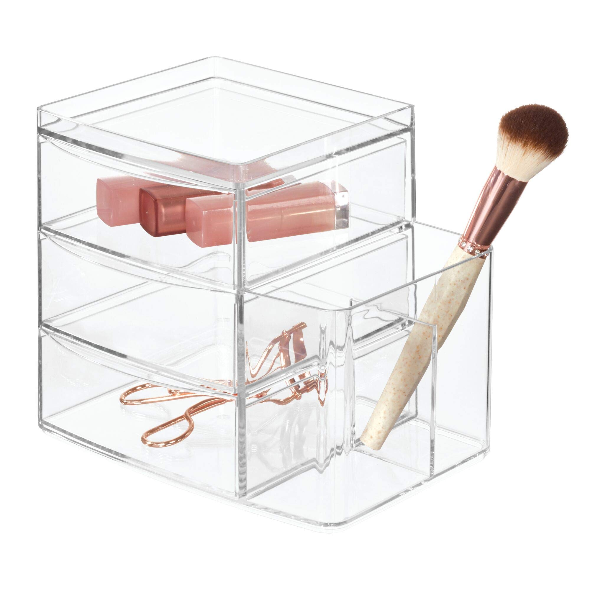 iDesign Clarity Bathroom Vanity Countertop Multi Level Organizer for Cosmetics