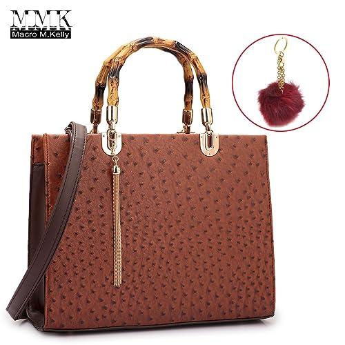 MMK colección Fashion bolso de mano mango de madera de bambú para mujer con libre clave ...