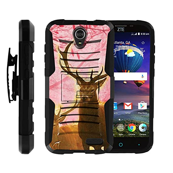 brand new 9ee6e 07454 MINITURTLE Case Compatible with ZTE Grand X 3, ZTE Warp 7, ZTE Zmax 3 [Clip  Armor]- Premium Defender Case Hard Shell Silicone Interior with Kickstand  ...