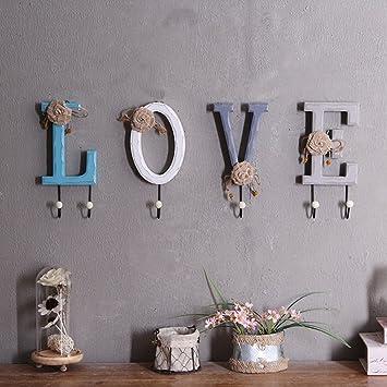 Perchero de madera rústico para colgar en la pared con ...