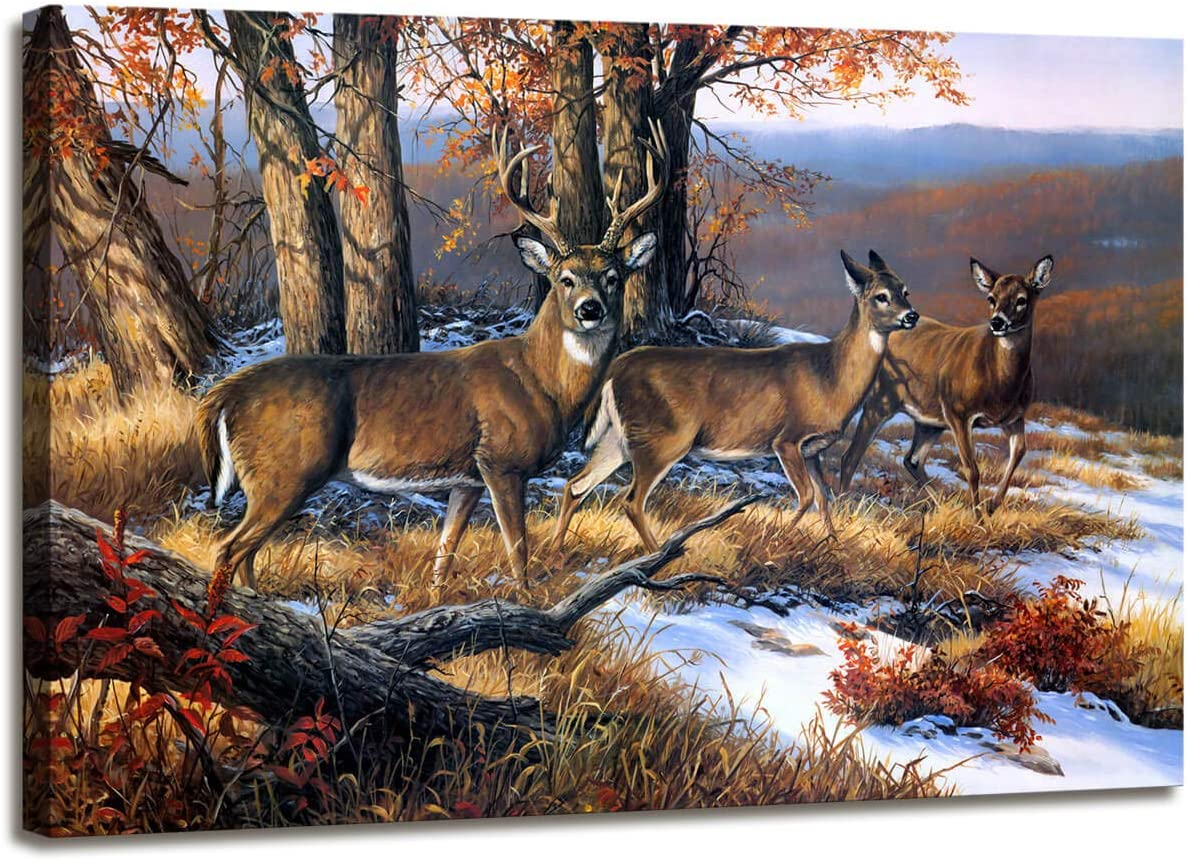 Canvas Pictures for Wall Artwork Deer Pictures Painting Canvas Autumn Scenery Decor Vivid Active Painting Bedroom Wall Decorations Maple Canvas Prints Picture Home Decor Size : 12 X 16 inches