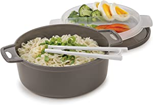 Prep Solutions by Progressive 4-Piece Microwave Ramen Bowl To-Go, Gray - PS-94GY Soup Spoon Included, Perfect for Ramen, Udon, Pho Noodles Dishwasher Safe BPA FREE