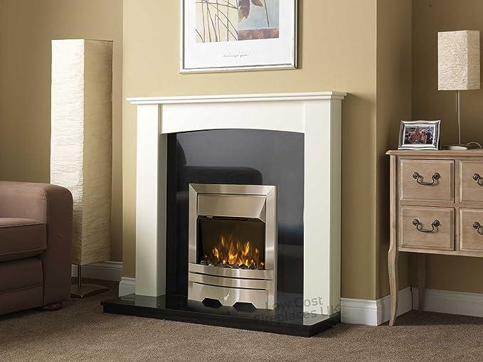Electric Silver Fire White Curved Surround Black Granite Hearth