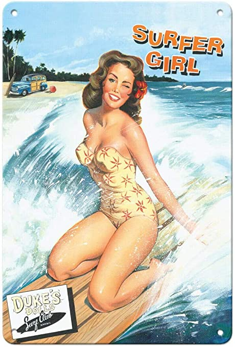 METAL VINTAGE SHABBY-CHIC TIN SIGN BEACH PIN UP GIRL PLAQUE//FRIDGE MAGNET