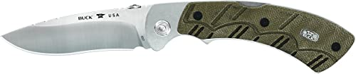 Buck Knives 557 Open Season Skinner Pro Folding Knife with Sheath, OD Green Micarta Handle, 3-3 4 S35VN Stainless Steel Blade, Leather Sheath Included