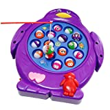 Musical Electronic Fishing Rod Board Game Penguin Shaped Play Set with Music Rotating Board Educational Learning Pretend Toy for Kids Children Boys Girls 3 4 5 Years Old, Color Vary, Pack of 1