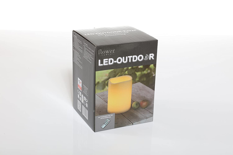 Flower Power LED Outdoor Kerze Plastik creme 10x30cm