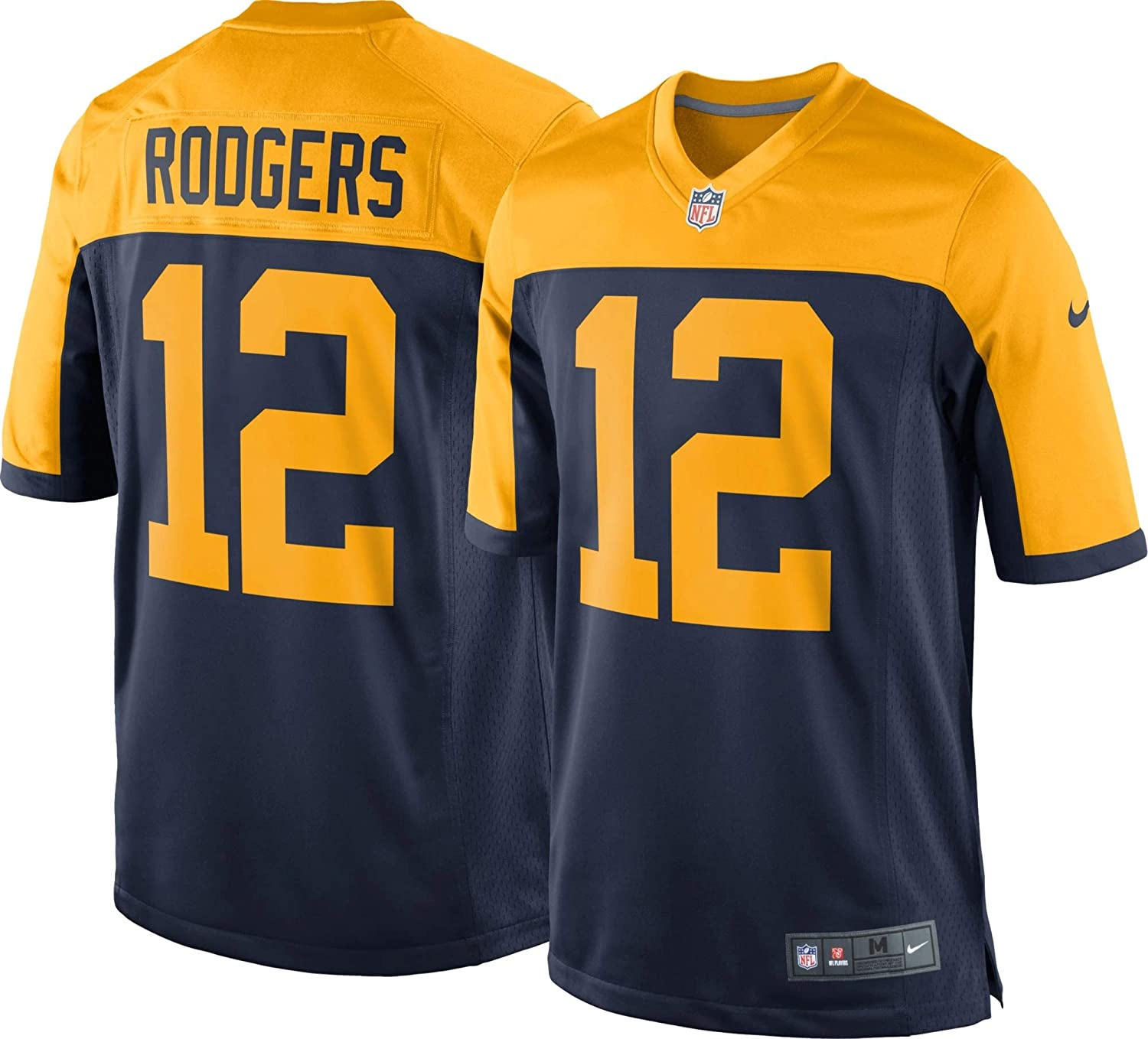 Nike Aaron Rodgers Green Bay Packers NFL Boys Youth 8-20 Navy Alternate On-Field Jersey