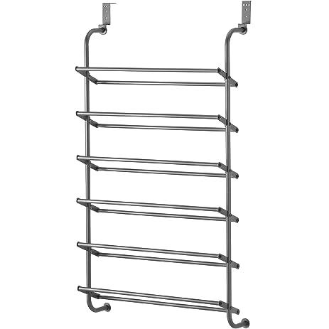 Whitmor 6 Shelf, Over The Door Shoe Rack, Gunmetal