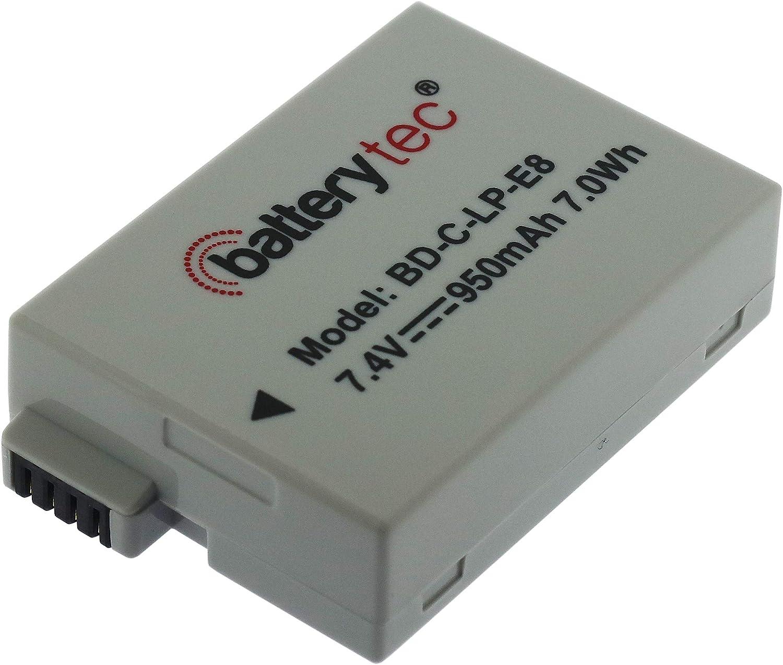 Recargable,2 Paquetes, 12 Meses de garant/ía Batterytec/® Bater/ía de Repuesto para Canon c/ámara LP-E8 EOS Rebel T2i T3i T4i T5i 700D 550D 600D 650D Kiss X6 LC-E8E C/ámara Digital. EOS Kiss X4 X5