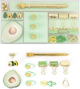Binder Clips for PaperWork, Push Pins, Paper Clips Assorted 3 Sizes, Metal Fold Back Clips with Transparent Box, for Office School Home Desk Supplies, Cute Avocado Shape 36pcs (Avocado Green and Gold)