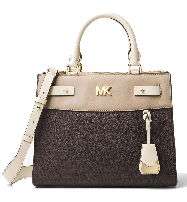 6671928c152412 Amazon.com: MICHAEL Michael Kors Reagan Medium Logo Leather Satchel Bag,  Brown Light Cream Oat: Shoes